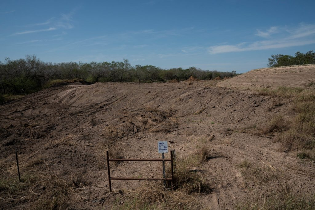 An area that is owned by U.S. Fish and Wildlife Service, next to the National Butterfly Center, in Mission, Texas. The area was cleared up for the proposed wall that was to be built on the levee. Credit... Verónica G. Cárdenas